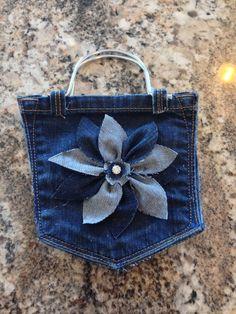 Denim pocket purse for a little girl