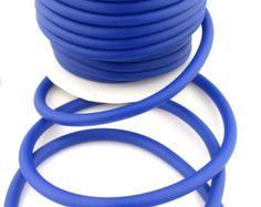 Cobalt Blue Silicone cord, 5mm hollow, 3mm hole, 6 feet