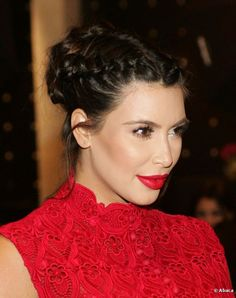 kim kardashian braided hairstyle | Kim Kardashian wore her hair in an intricate braided chignon hairstyle ...