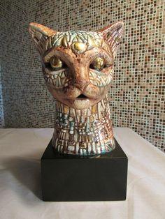 "Mid Century Modern cat head sculpture, Signed Sascha Brastoff1 - 10 1/2"" tall .... Base is 5 1/2"" wide X 5"" long"
