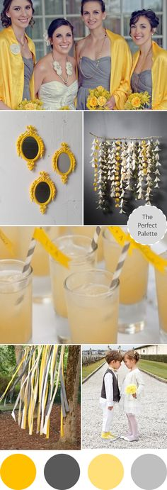 Wedding Colors I Love | Shades of Yellow + Gray I catered a wedding with this color scheme! Loved it!