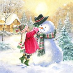 Christmas Scenes, Christmas Pictures, Christmas Snowman, Christmas Time, Vintage Christmas Cards, Xmas Cards, Holiday Cards, Illustration Noel, Christmas Illustration