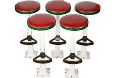 Porcelain Fountain Stools, Set of 5