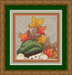 StitchX Fall Peeker, free pattern on Craftsy.com, autumn, fall, cross stitch