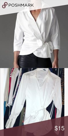 White blouse with waist tie Perfect condition 1st pic is to show style of shirt. Tag says size 2 but can fit medium or large very classy and stylish Chico's Tops
