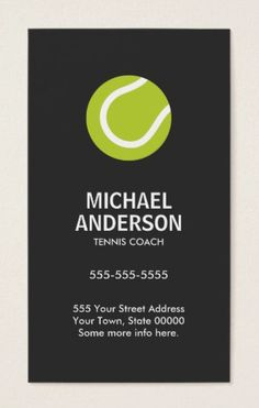Tennis coach or player dark gray modern minimal business card. Stylish, dark gray, vertical tennis coach or tennis player business card featuring a green tennis ball. Customizable name, title / business name and contact information on the front. A bold, modern and minimal design.