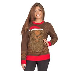 Star Wars Chewbacca Furry Face with Santa Hat Adult Ugly Christmas Sweater Couples Christmas Sweaters, Couple Christmas, Diy Ugly Christmas Sweater, Ugly Sweater, Diy Christmas, Holiday, Chewbacca, Santa Hat, Sweater Outfits