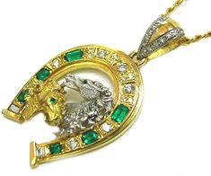 18k Horseshoe men's emerald pendant