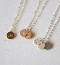 Gold Disc Necklace//Customized Initial by BijouxMEE on Etsy