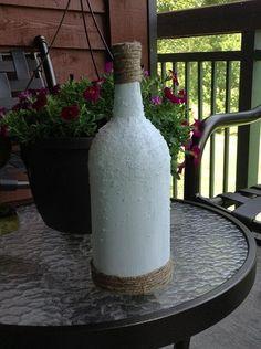 Repurposed wine bottle.