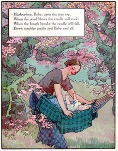 """Frederick Richardson (American, Illustration of the nursery rhyme 'Hush-a-bye Baby' from the book """"Mother Goose"""" the Volland Edition, Nursery Rhymes Poems, Rhymes Songs, Rhymes Lyrics, Nursery Rymes, Tarot, Pomes, Baby Posters, Kids Poems, Baby Songs"""