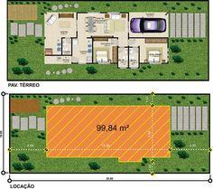 Projetar Casas | Projeto de Casa térrea com garagem, 2 quartos e varanda gourmet - COD 37