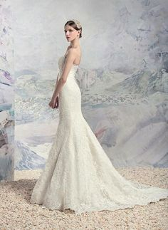 Style #1616L, fit and flare strapless lace wedding gown, available in white and ivory. The perfect classic lace gown for your perfect day! #weddingdress #wedding #fashion #torontowedding