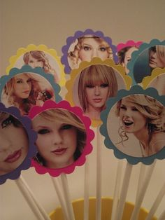 12 Taylor Swift Cupcake Toppers, WE NEED TO PLAY DARTS WITH THESE! LMAOOO