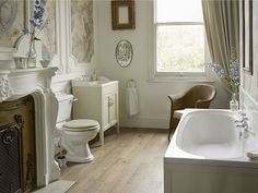 Heritage Bathrooms Dorchester suite. - Does your home have a cottage feel that needs a master bathroom design to match? Style your bathroom with subtle tones to give it the effortless elegance it deserves.