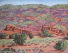 """""""Red Cliffs on the Way to Jemez Springs"""" Acrylic on cardboard (Not Framed), 16 x 20"""" 2013 PRE-CHRISTMAS SALE $250 #PollyJackson is an #artist from #Albuquerque, New Mexico, USA, whose #paintings I admire.  Would you love to own one of her paintings that I have pinned? Contact her at: Email: artistpolly@gmail.com       Website: http://www.pollyjackson.com   https://www.facebook.com/artistpolly    #NewMexico #RedCliffs #Jemez Springs #Acrylic #Painting"""