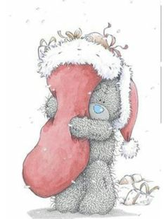 ♡ Tatty Teddy on Christmas Day Tatty Teddy, Bear Illustration, Christmas Illustration, Christmas Drawing, Christmas Art, Christmas Stocking, Xmas, Teddy Pictures, Cute Pictures