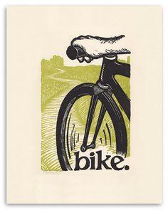 vélo. une impression typographique de 11 x 14.