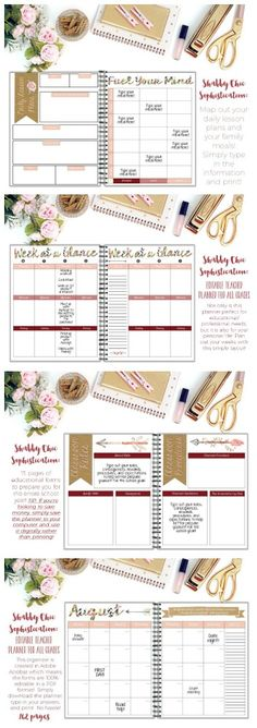 Editable teacher/life planner for all grade levels! 100% editable PDF format. 162 pages of organizational tools! Shabby chic sophistication theme