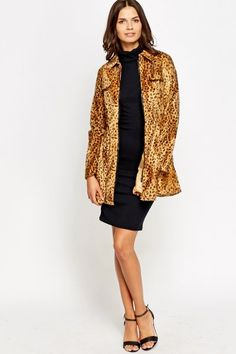 Elasticated Velveteen Leopard Print Coat