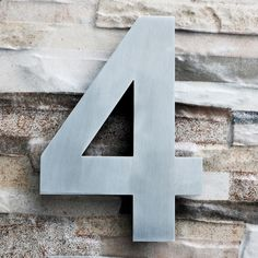 QT Modern LARGE House Numbers 8 Inch Brushed Stainless Steel