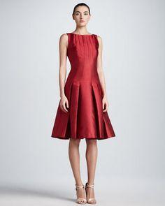 Carolina Herrera Drop Waist Duchess Cocktail Dress Red Carolina Herrera