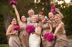 bronze bridesmaid dresses - love the dress & flower color combo!