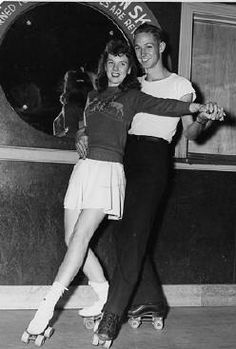 Dance skating in short skirts at the roller rink...