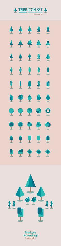50 tree icon set on Behance