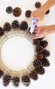 Easy & long lasting DIY pinecone wreath: beautiful as Thanksgiving & Christmas decorations & centerpieces. Great pine cone crafts for fall & winter! - A Piece of Rainbow Crafts Beautiful Fast & Easy DIY Pinecone Wreath ( Impro Wreath Crafts, Diy Wreath, Fall Crafts, Holiday Crafts, Christmas Diy, Diy And Crafts, Christmas Ornaments, Pinecone Christmas Crafts, Pine Cone Christmas Tree