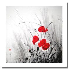 Peinture sumi-e à l'encre de chine, herbes folles : Peintures par encre-zen