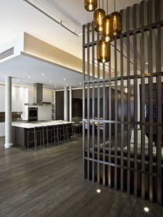 Greene Street Loft - contemporary - kitchen - new york - GRADE Grey Hardwood Floors, Grey Flooring, Wood Floor Design, Kitchen New York, Loft Kitchen, Kitchen Industrial, Divider Design, Divider Ideas, Space Dividers