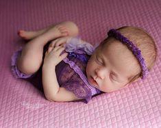 Beautiful newborn photo props by PITTAphotoprops on Etsy Newborn Baby Photos, Newborn Girl Outfits, Newborn Photo Props, Baby Girl Newborn, Purple Lace, Lace Romper, Trending Outfits, Beautiful, Babyshower