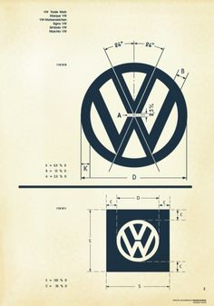 Vintage VW Logo Specifications Sheet — i have to have this as a poster