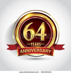 64th golden anniversary logo, sixty four years birthday celebration with ring and red ribbon isolated on white background