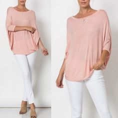 AMBERLY Short Sleeve Oversized Top - PEACH Beautiful Short Sleeve Oversized Top - PEACH  96% Rayon 4% spandex Made in U.S.A. NO TRADE, PRICE FIRM Bellanblue Tops Blouses