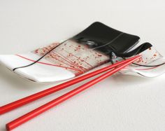 fused glass sushi plates | ... - Fused Glass Red and Black Sushi Set Serving Decoative Plate Dish