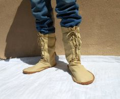 Moccasin Boots Handmade Calf Height Mocs by FaeMoonWolfDesigns
