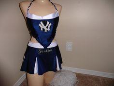 NEW YORK YANKEES or request mlb baseball nostalgia  halloween costume cheerleading skirt set stripper exotic dancer pom pons by gabriellescostumes on Etsy