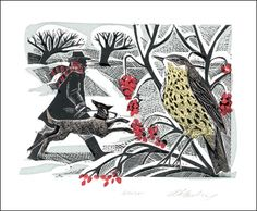 Winter Thrush linocut by Angela Harding