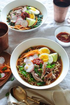Pork Ramen Noodle Bowls - Because I keep ending up with pulled pork. I hate pulled pork. Teej can have a sandwich and I will have this. Pork Ramen Noodles Recipe, Ramen Noodle Bowl, Ramen Noodle Recipes, Soup Recipes, Pork Pho Recipe, Garlic Noodles, Asian Recipes, Healthy Recipes, Ethnic Recipes