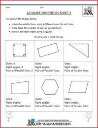 2D Shape properties, printable geometry sheet to identify parallel lines and right angles