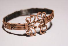 Mens Bracelet-copper bangle jewelry- copper wire wrapped Bracelet-cuff bracelet-wire wrapped jewelry handmade-copper jewelry-bangle. $38.00, via Etsy.