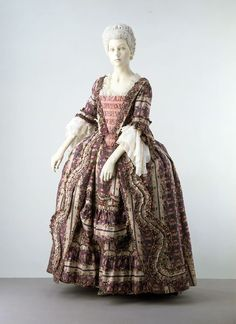 Robe à la française: ca. 1770-1775, English, brocaded silk, trimmed with fly fringe silk, lined with linen; hand-sewn.