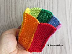 Rainbow Patchwork Bracelet, Double Sided Bracelet, Colorful Wrist, Knit Crochet Wristband, Cuff, Striped Bracelet, LGBT Bracelet, Gay Pride