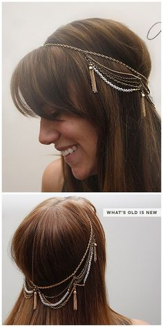 DIY Chains and Tassels Headpiece Tutorial from Brenna Rose here. For more DIY hair jewelry go here: bobby pins and hair combs, headbands and headpieces.
