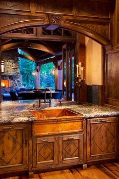 Beautiful Log Home | Kitchen- granite, open floor plan, view