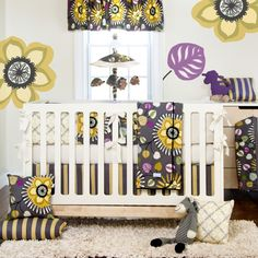 Glenna Jean Melrose 4 Piece Crib Bedding Set  | Pokkadots.com      This doesn't coordinate with the Pottery Barn set; however, it offers some great color options for accessorizing.  You've got the purple, black, white, gray...  Check it out and let me know what you think.      @Mallory S