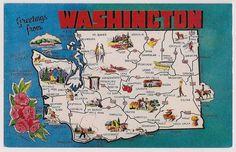 Retro Washington State Tourist Map Vintage Postcard Souvenir The Evergreen State Fun Ski Scenes and Camping Scenes Tourist Map, Tourist Info, Evergreen State, U.s. States, United States, Vintage Postcards, Poster Vintage, Vintage Maps, Vintage Travel