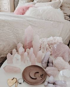 Tiny Enchantments - Meaningful Bohemian Jewelry and Necklaces Crystals Minerals, Crystals And Gemstones, Stones And Crystals, My New Room, My Room, Crystal Bedroom, Crystal Aesthetic, Crystal Decor, Crystal Altar